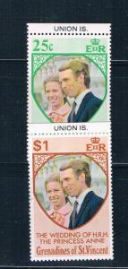 St Vincent - Grenadines 1-2 MNH set Prin Ann wed Union Is 1973 (S0912)