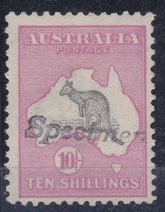 K483) Australia 1913 10/- Grey & Pink 1st wmk Kangaroo, Ovpt. Specimen