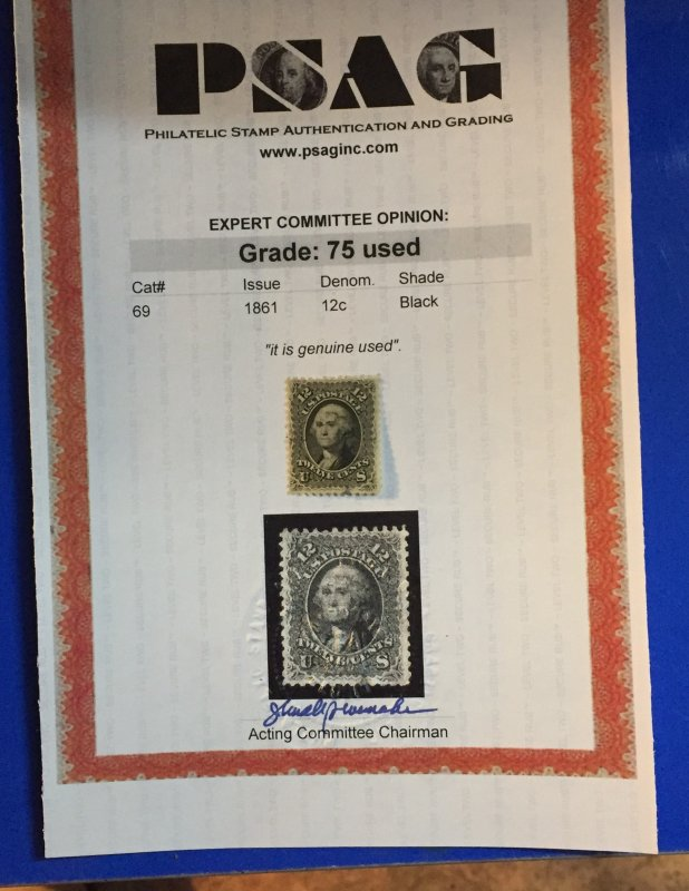 PRICE REDUCED AGAIN..CERTIFICATE CW Scott #69 - 1861, perf 12, Black, 12c Beauty
