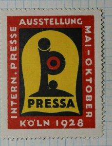 Internal Press Exhibition Koln 1928 Exposition Poster Stamp Ads