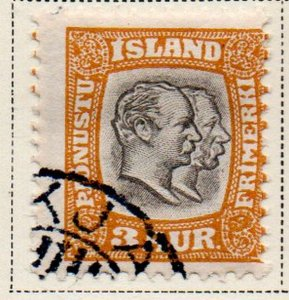 Iceland Sc  O31 1907 3 aur 2 Kings Official stamp used