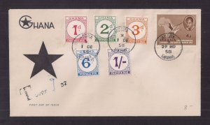 GHANA: FIRST DAY COVER for Postage Due set Dec 1 1958 #J6-10 VERY NICE!