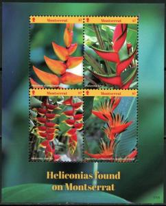 MONTSERRAT 2017 NATIONAL FLOWER HELICONIAS  SHEET OF FOUR  MINT NH