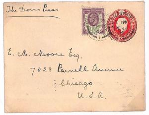 S58 1905 GB *HAMMERSMITH* Chicago USA Postal Stationery {samwells-covers}PTS