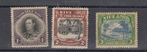 Niue KGVI 1938 1/- 2/- 3/- SG75/77 MH J5027