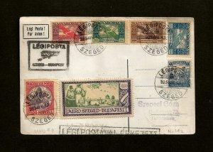 Hungary Sc C6-C9 Multi-Stamp Cover 1925 1st Flight PC Szeged-Budapest / Legipost
