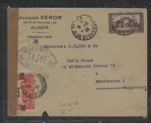 ALGERIA COVER (P1302B)  1939   2F+ SURCH 0.25 ON CENSOR COVER ALGER TO ENGLAND