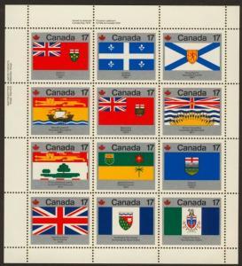 Canada 832a TL Plate Block MNH Provincial Flags