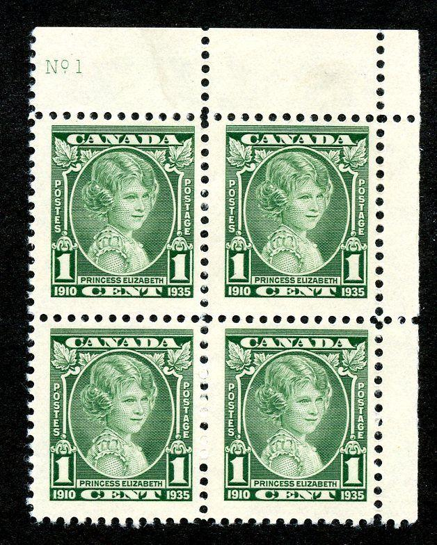 Canada Scott 211 MNH Plate Number Block of 4