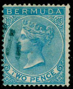 BERMUDA SG3, 2d Dull Blue WMK CC, FINE USED. Cat £40.