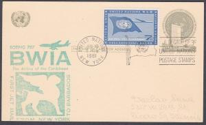 USA UN FRANKING 1961 first flight postcard NY to Barbados...................7136