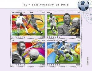 YEAR 2020/10- LIBERIA- SPORT FOOT-BALL PELE        4V complet set    MNH ** T