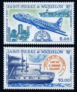 St Pierre & Miquelon C61-C62, MNH. Aircrafts, 1987