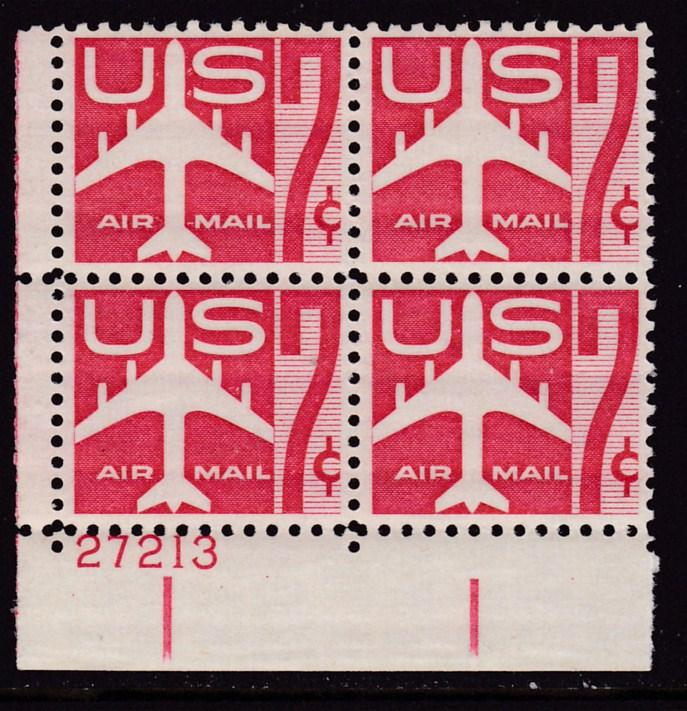 United States 1960  7cent carmine  Plate Number Block. VF/NH