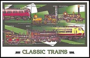 Uganda 1435, MNH, Classic Trains miniature sheet of 6