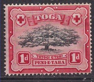 Toga Tonga 1942 - 49 KGV1 1d Ovava Tree Black & Scarlet MM SG 75 ( M1347 )