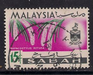 Malaysia SABAH 1965 15ct Flowers SG 429.(D850 )
