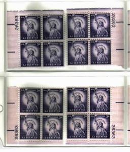 #1035 3c Liberty Plate Block Mint NH #26363 dry printed