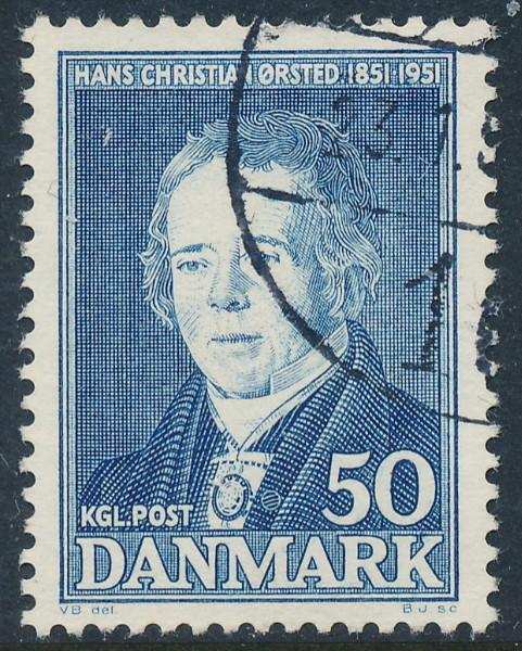 Denmark Scott 329 (AFA 330), 50ø blue H.C. Ørsted, VF Used