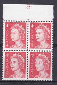 LM167) 1966 QEII 4c red upper marginal block of 4 with full plate # 23 MUH
