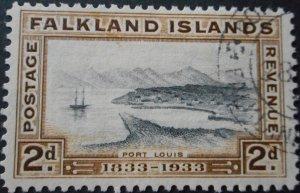 Falkland Islands 1933 GV Centenary 2d SG 130 used