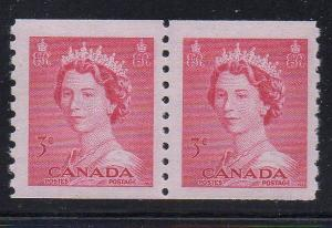 Canada Sc 332 1953 3c 1st QE II issue  coil stamp pair mint NH