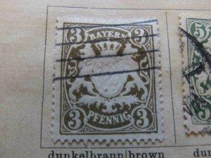 Germany Bavaria 1888-1900 3pf Wmk Horiz Wavy Lines Close fine used A11P29F9