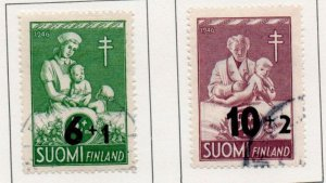 Finland Sc B80-81 1947 TB Child Care revalued charity stamp set used