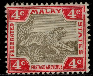 MALAYSIA - Federated Malay EDVII SG36, 4c grey & scarlet, M MINT. Cat £70.
