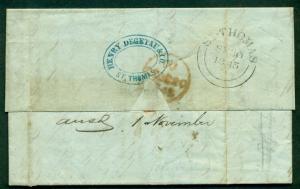 DANISH WEST INDIES 1845 SFL St. Thomas to London blue cachet DEGATAU & CO.