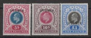 NATAL 1902 KEVII set $5/- to £1 wmk Crown CC SPECIMEN.