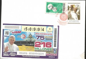 J) 2016 MEXICO, POPE FRANCISCO VISITS MEXICO, NATIONAL LOTTERY, LOTTERY TICKET W
