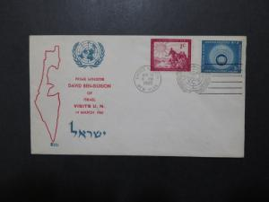 United Nations 1960 Ben Gurion Visit Cacheted Event Cover  - Z10067