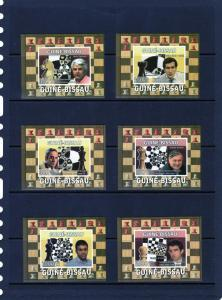 Guinea Bissau 2008 CHESS MASTERS (6) Deluxe s/s Mint (NH)