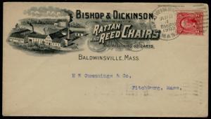 1903 #301 ON ILLUST. ADVT BISHOP & DICKENSON RATTAN & REED CHAIRS COVER BQ2521