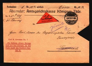 Germany 1913 stampless Remboursement Cover / Light Creasing - Z17064