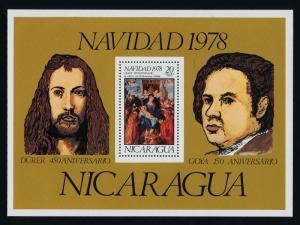 Nicaragua C953 MNH Christmas, Art, Painting, Durer, Goya