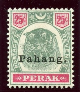 Malaya - Pahang 1898 25c green & carmine MLH. SG 20. Sc 17.