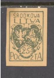 Central Lithuania Sc # 2 mint hinged imperf (RS)