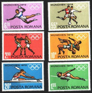Romania. 1972. 3012-17. Munich, summer olympic games. MNH.