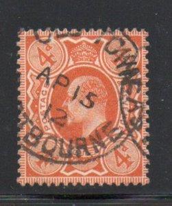 Great Britain Sc 144 1910 4d pale orange Edward VII stamp  used