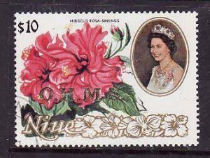 Niue-Sc#O19- id5-used Official $10.00-Flowers-1985-7-