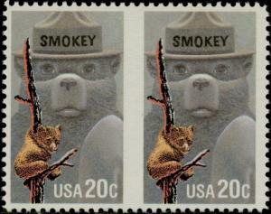 #2096a SMOKEY BEAR HORIZ. PAIR; IMPERF BETWEEN MAJOR ERROR BQ1180