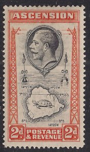 Ascension Island 1934 KGV 2d Map of Island MM SG 24 ( B953 )