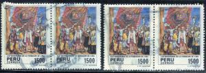 PERU SC# 831 USED 1985 1500s  450TH ANNIV. LIMA (2 PAIR)  SEE SCAN