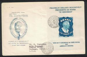Brazil Homage to Franklin D Roosevelt MS WITH WATERMARK on FDC RAR! SG#MS788a