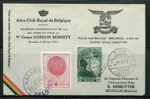 BELGIUM BRUSSELS 6/20/1937 GORDON BENNETT BALLOON MAIL TO RIGA, LATVIA 6/26/37