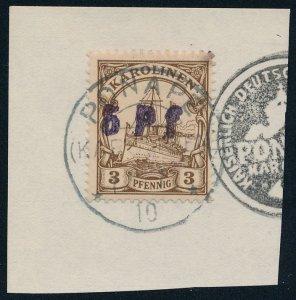 German Caroline Islands sc# 20 5pf on 3pf Space Filler - Wrong Seal - Karolinen