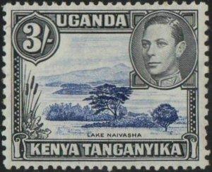KUT 1938 3/- Lake Naivasha (perf 13 x 11¾) MH