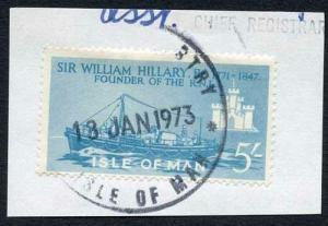 Isle of Man 5/- Blue QEII Pictorial Revenue CDS On Piece